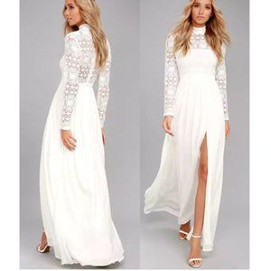 Lulus In Dreams White Long Sleeve Lace Maxi Dress